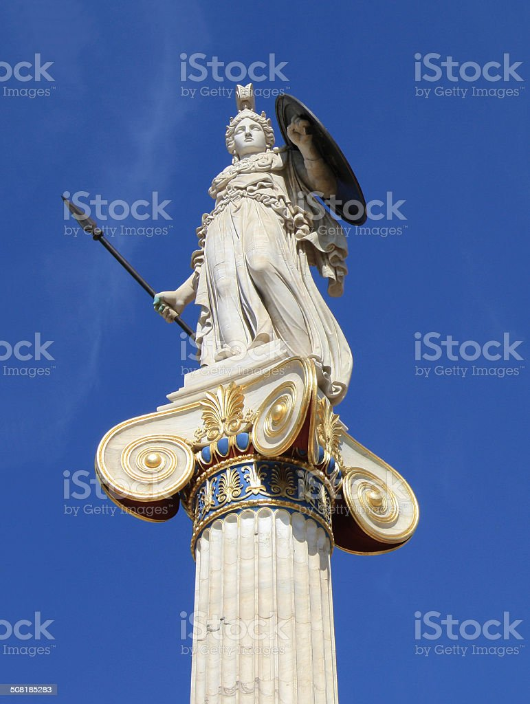 Statue of goddess Athena in Greece stock photo
