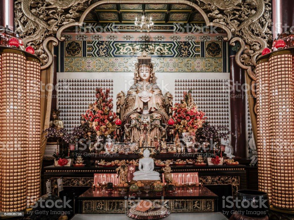 Statue of Goddess Guan Yin in Thean Hou temple Kuala Lumpur stock photo