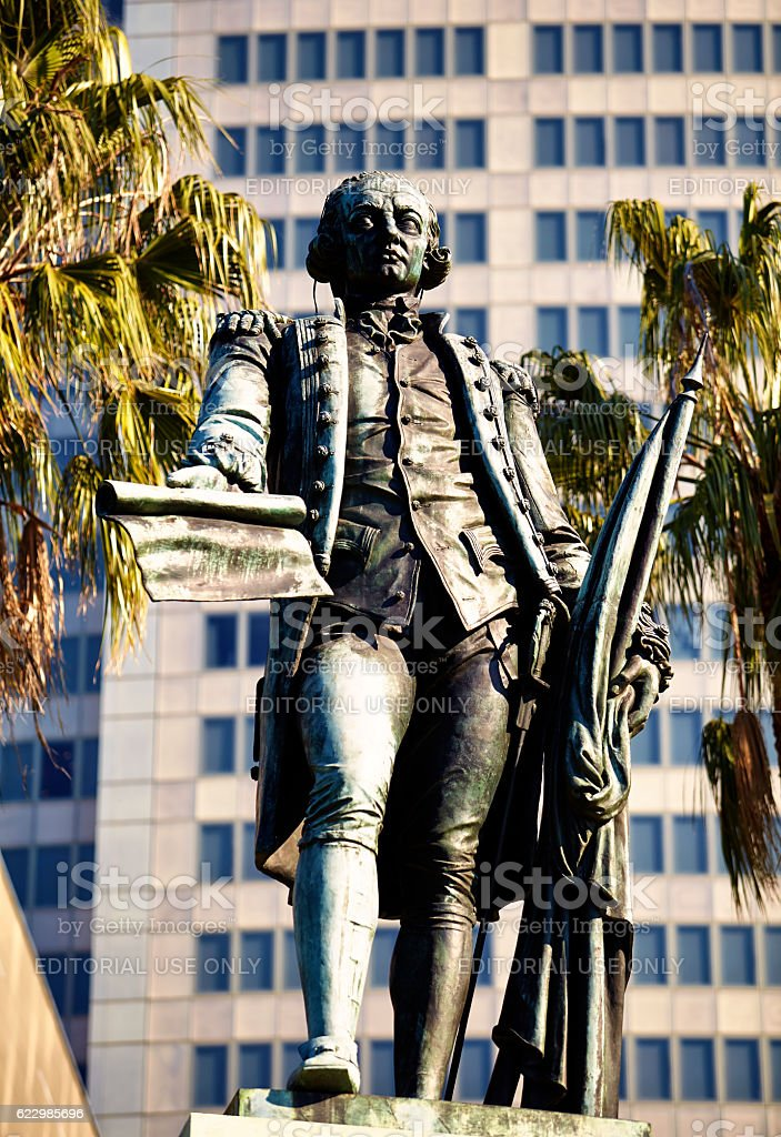 Statue Of Governor Arthur Phillip In Sydney's Royal Botanic Gardens stock photo