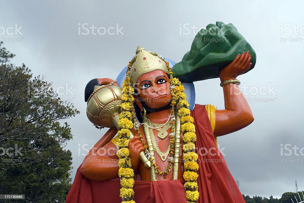 Statue of Hanuman Mauritius stock photo