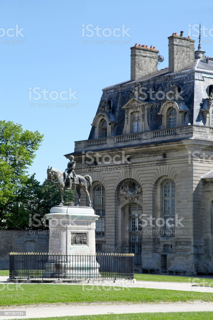 Statue of Henri d'Orléans in Chantilly stock photo