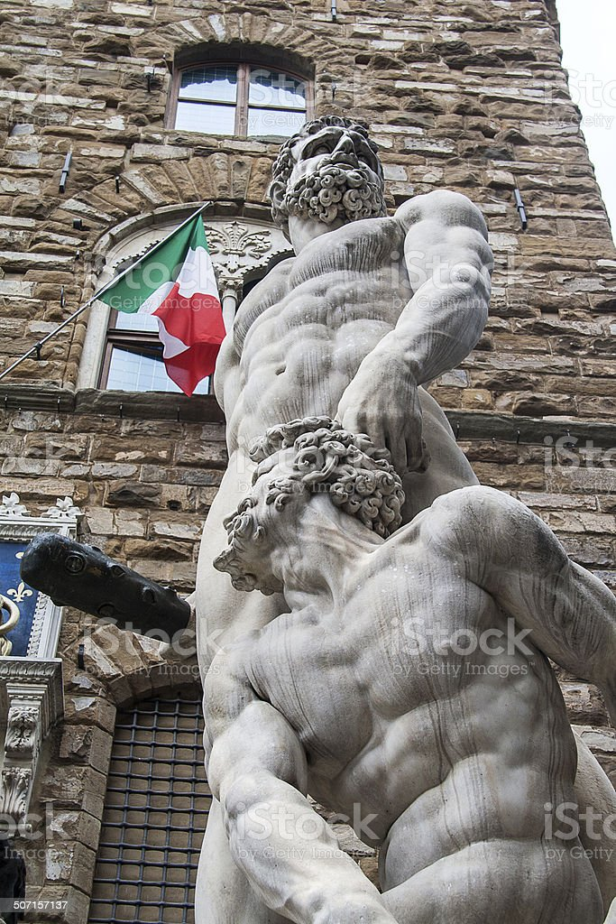Statue of Hercules and Cacus in Florencia stock photo