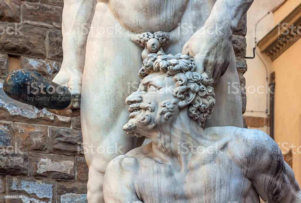 Statue of Hercules and cacus - piazza della Signoria stock photo