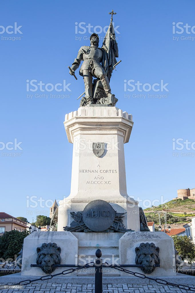 Statue of Hernan Cortes, Medellin, Spain stock photo