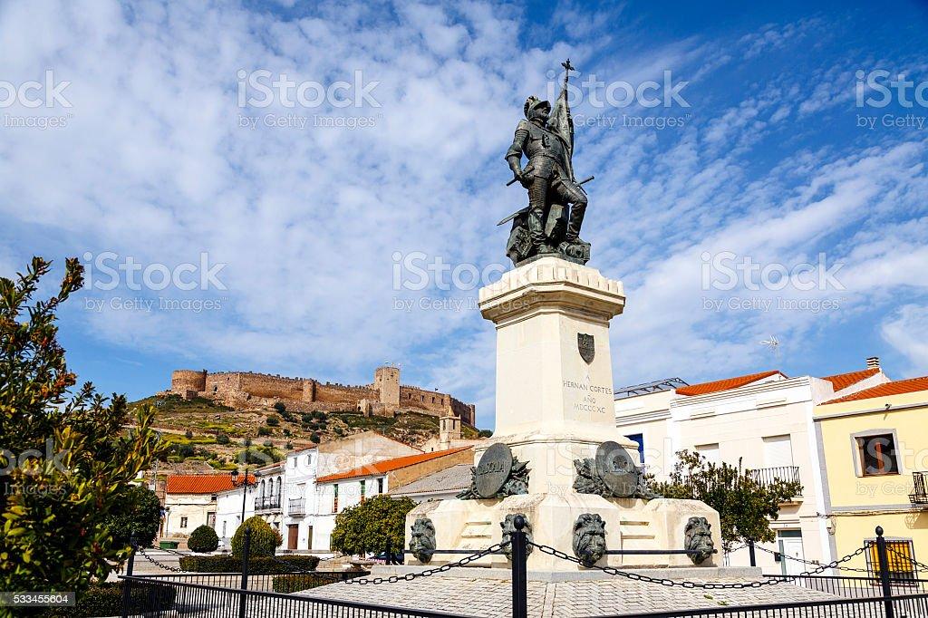 Statue of Hernan Cortes, Mexico conqueror, Medellin, Spain stock photo
