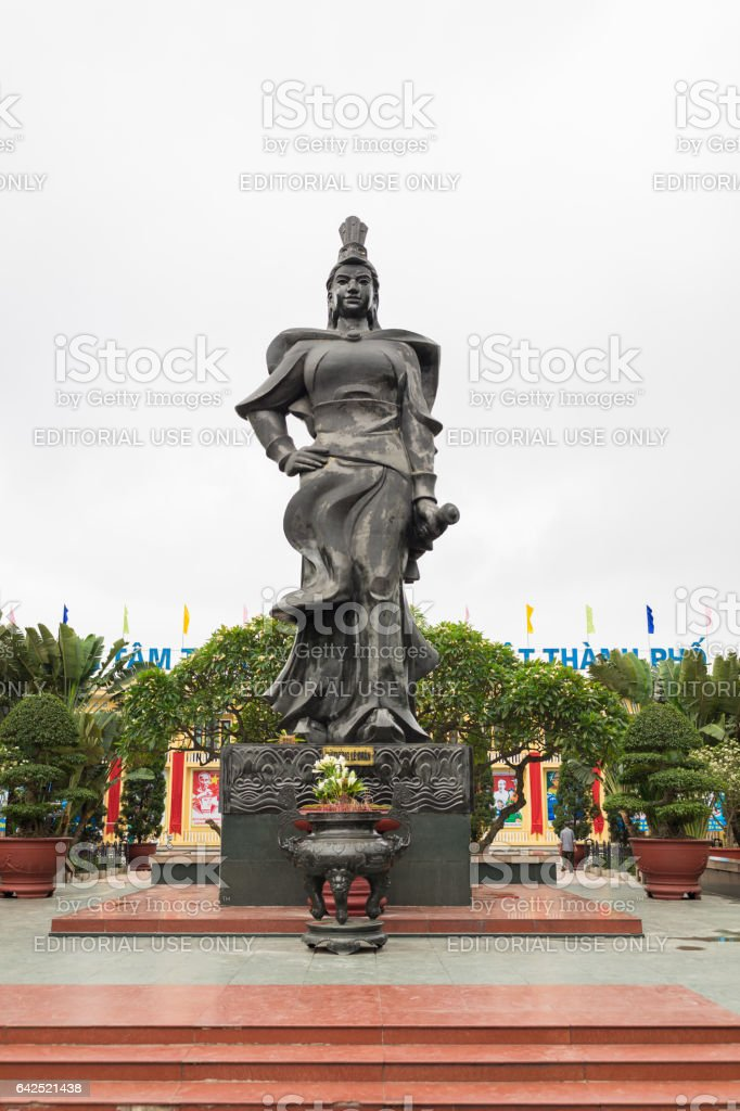 Haiphong, Vietnam - Apr 30, 2015: Statue of heroine Le Chan in center park. Le Chan was female general who led the armies of the Trung Sisters in their struggle against Chinese occupation back in AD40 stock photo