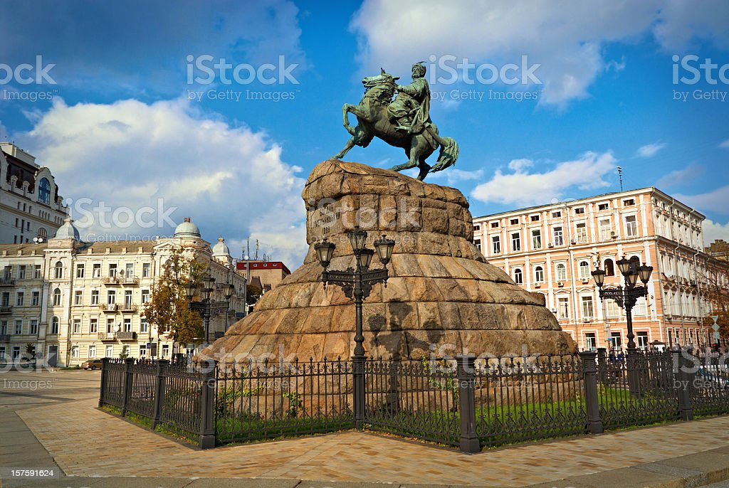statue of Hetman Bohdan Khmelnytsky stock photo