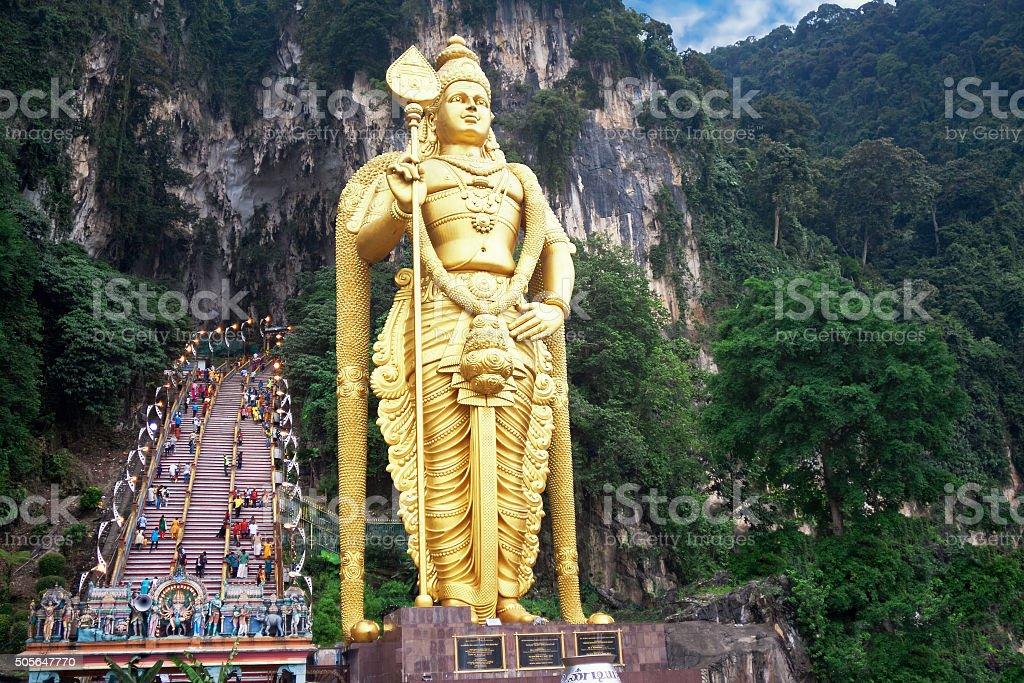 Statue of hindu god Muragan at Batu caves, Kuala-Lumpur stock photo
