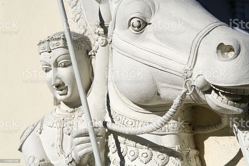Statue of Hindu Goddess on a Horse royalty-free stock photo