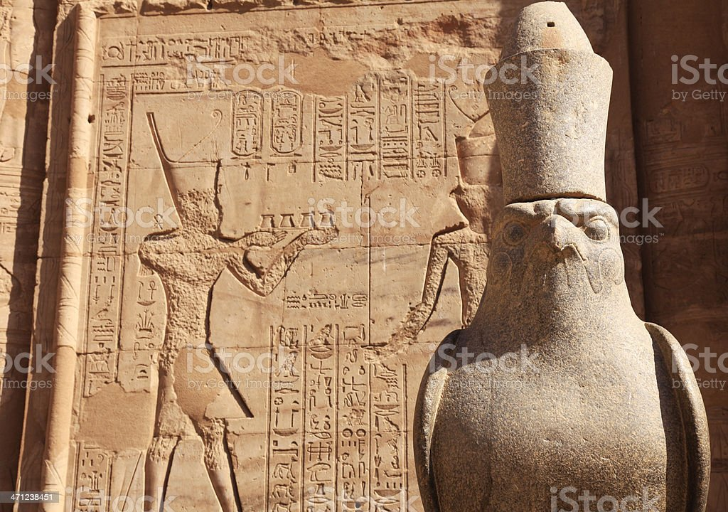 Statue of Horus at Temple in Edfu stock photo