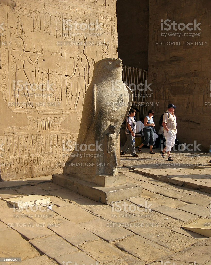 Statue of Horus at the Temple of Edfu in Egypt stock photo