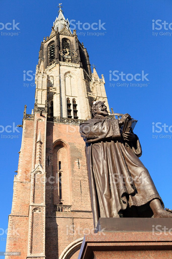 statue of Hugo Grotius (1583-1645) against a clear sky royalty-free stock photo