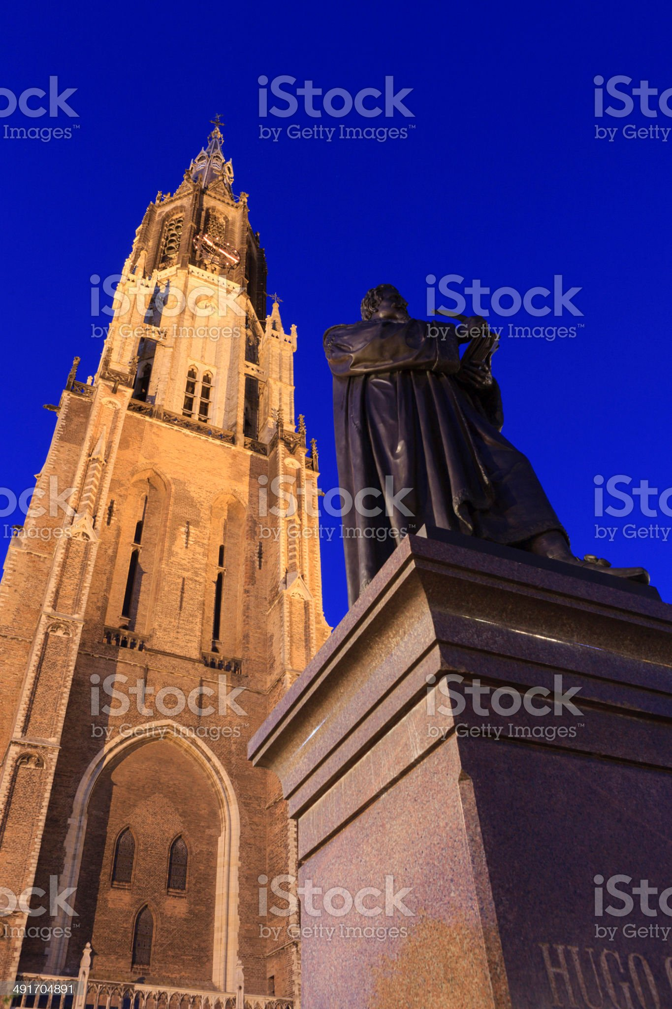 statue of Hugo Grotius (1583-1645) in Delft royalty-free stock photo