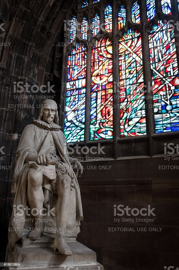 Statue of Humphrey Chetham, Manchester Cathedral stock photo