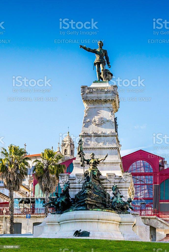 Statue of Infant D. Henriques in Porto city square stock photo