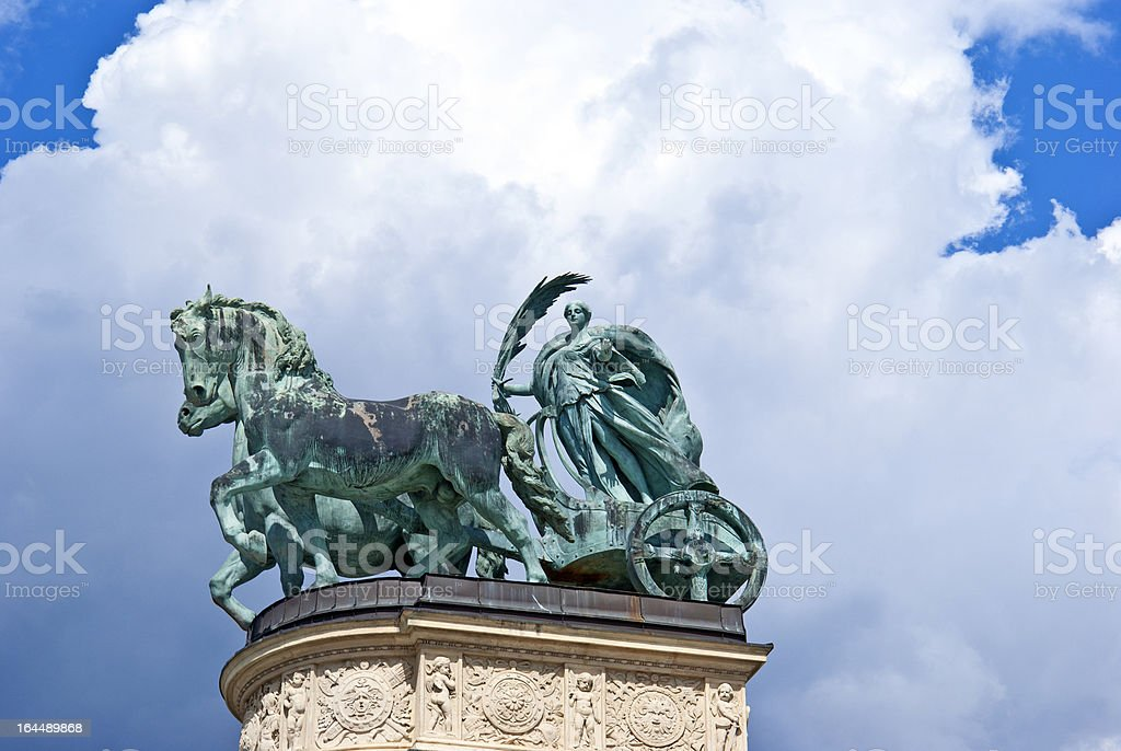 Statue of iron at Heroes' Square in Budapest, Hungary royalty-free stock photo