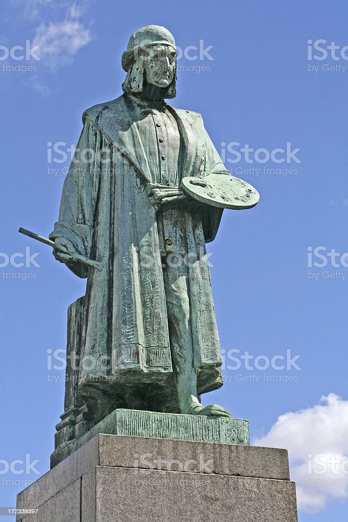 Statue of Jeroen Bosch in the Netherlands stock photo