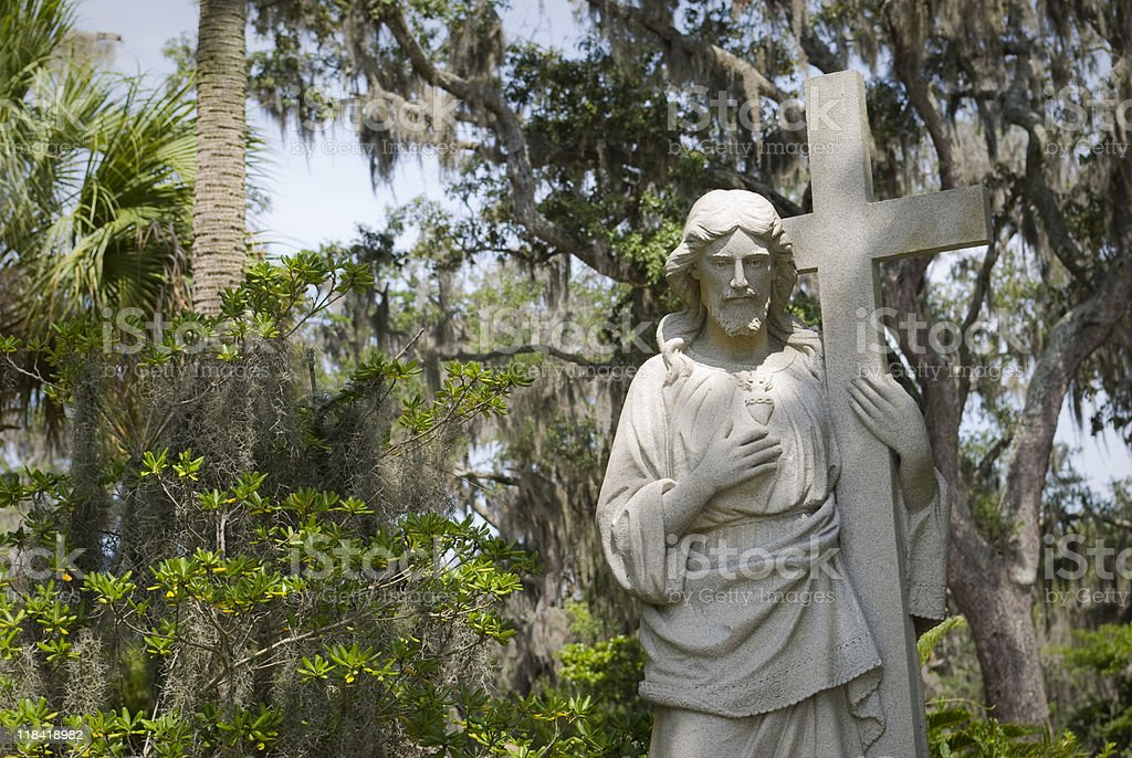 Jesus and Cross Statue stock photo