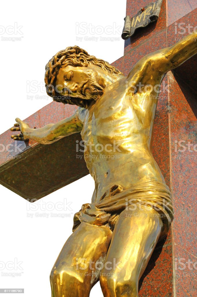Statue of Jesus Christ. Sacred Heart. Christianity symbol isolated on white background. stock photo