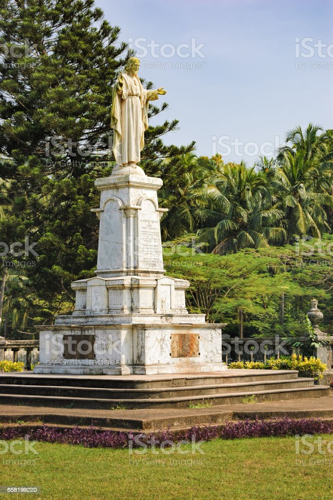Statue of Jesus near SE Cathedral, Old Goa, India stock photo