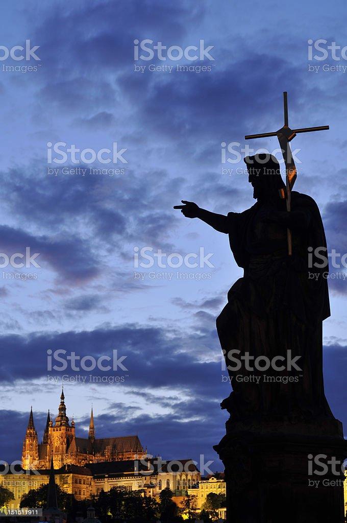 Statue of Jesus on Karl Bridge, Prague royalty-free stock photo