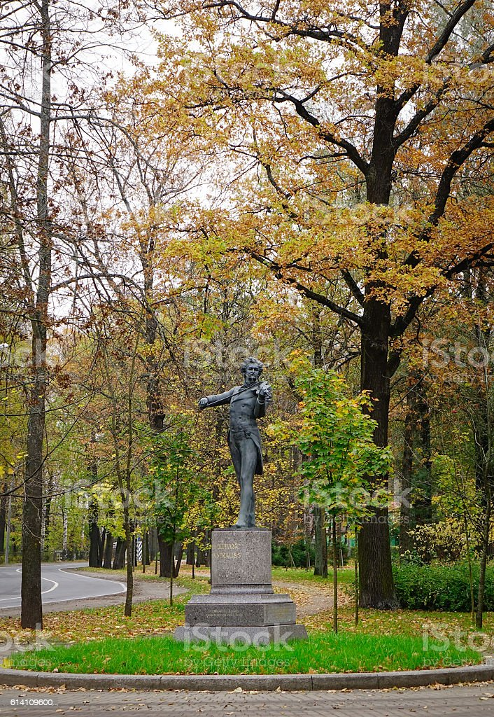 Statue of Johann Strauss at the Pavlovsk park stock photo