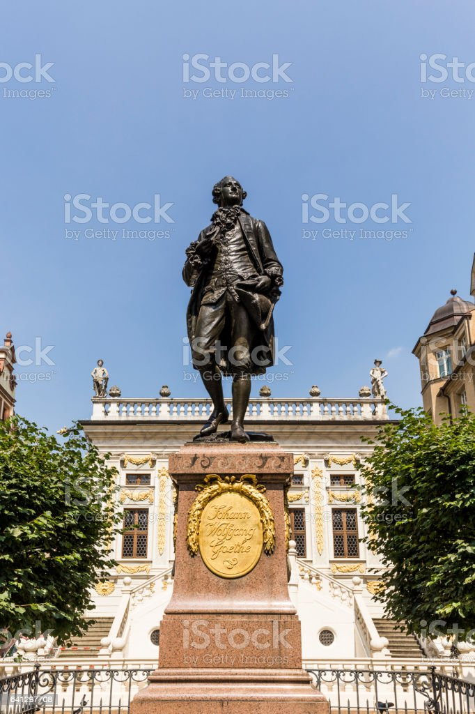 Statue of Johann Wolfgang Goethe, Leipzig stock photo