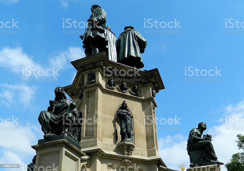 Statue of Johannes Gutenberg in Frankfurt stock photo