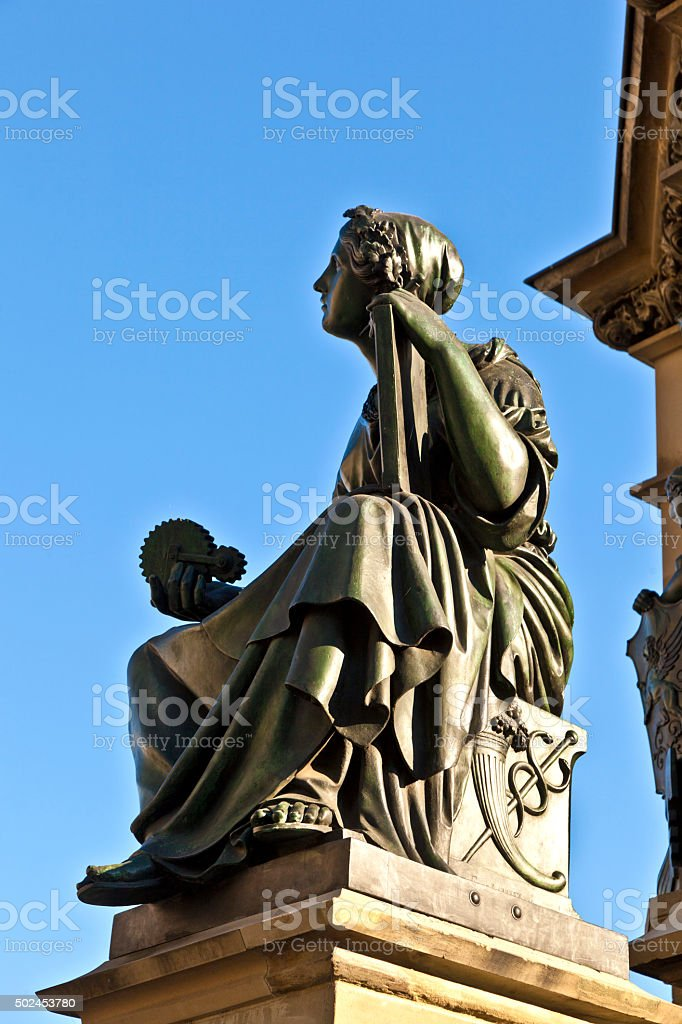 statue of Johannes Gutenberg, inventor of book printing with sky stock photo