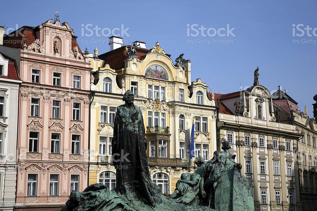Statue of John Hus in downtown Prague, czech republic royalty-free stock photo