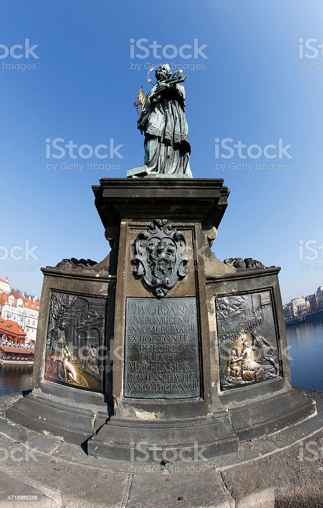 Statue of John of Nepomuk on Charles Bridge stock photo