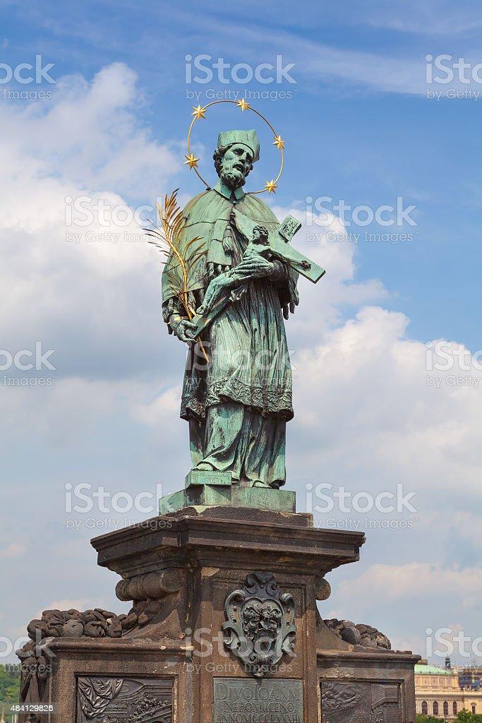 Statue of John of Nepomuk Prague stock photo