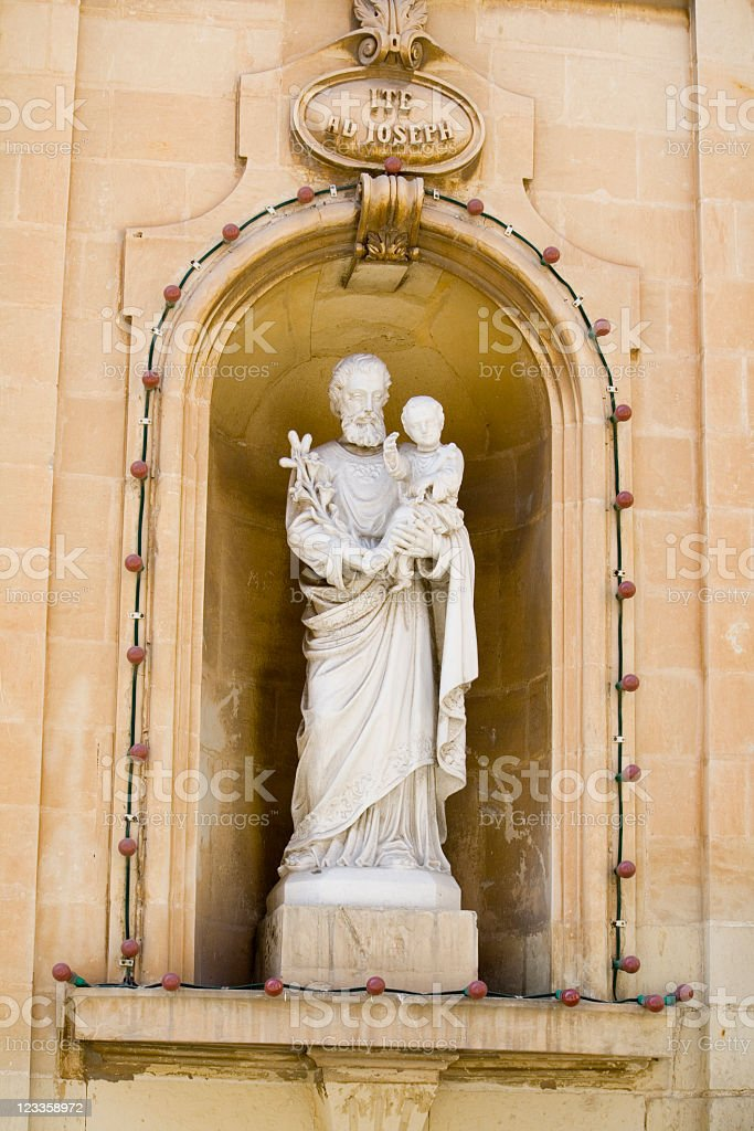 Statue of Joseph and Jesus royalty-free stock photo