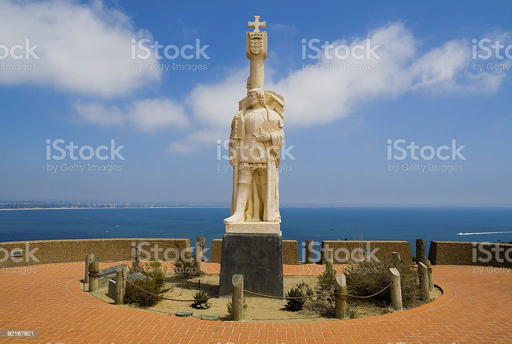 Statue of Juan Rodriguez Cabrillo stock photo