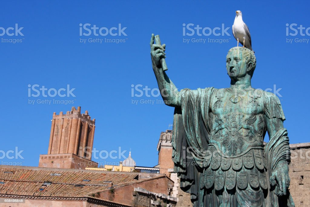 Statue of Julius Caesar that is near Trajan's Forum, Rome, Italy stock photo