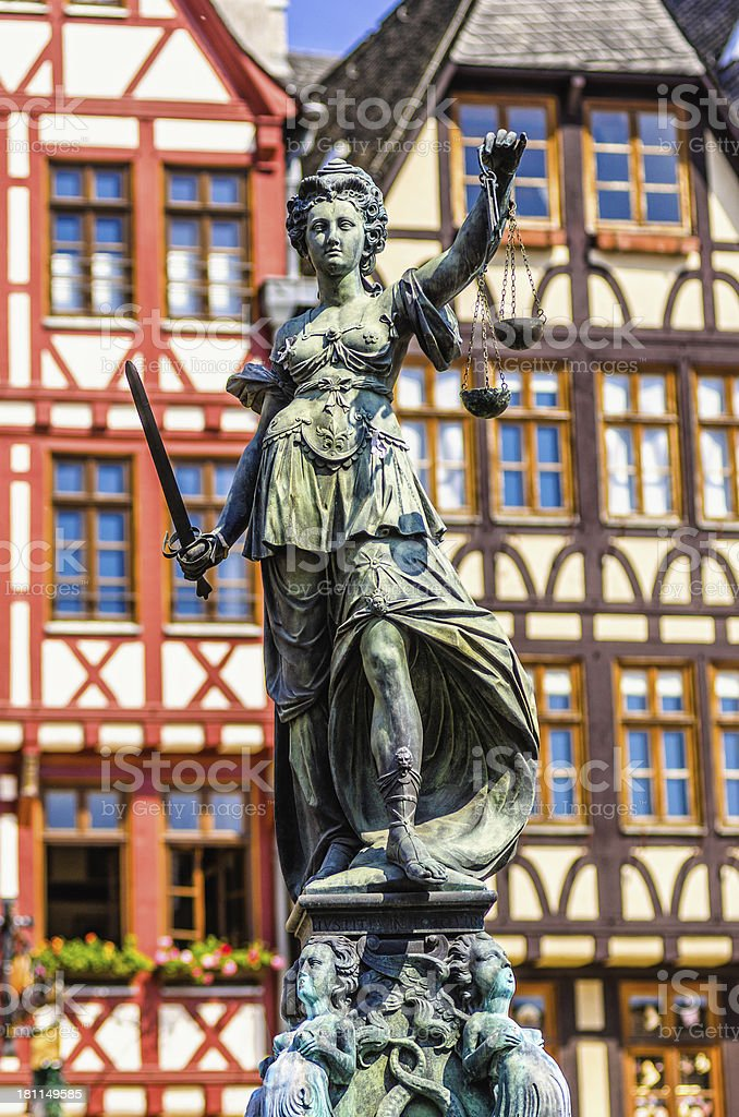 Statue of Justice in Frankfurt stock photo