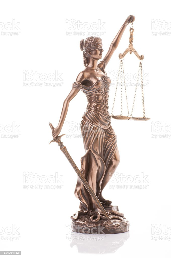 Statue of justice isolated on the white background stock photo