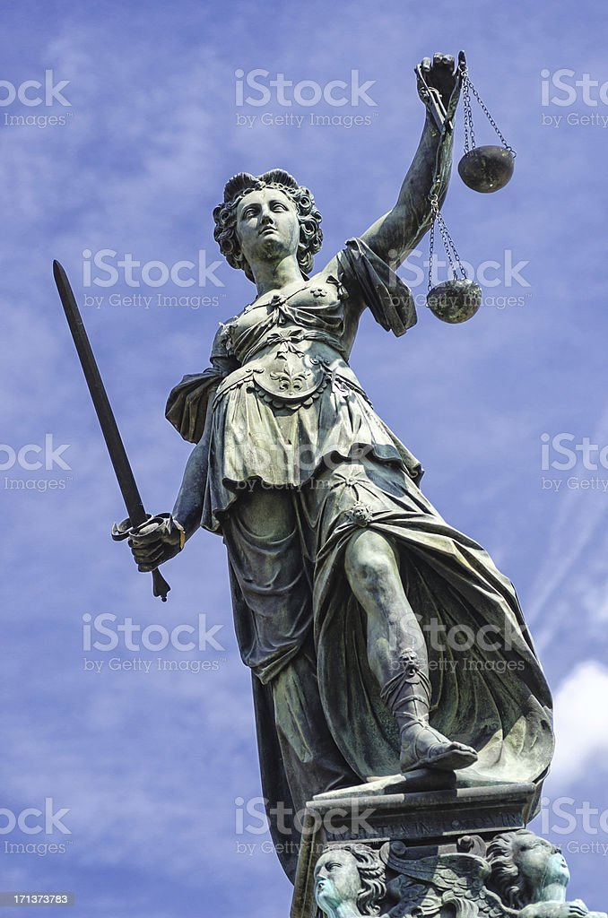 Statue of Justice (Justitia) stock photo