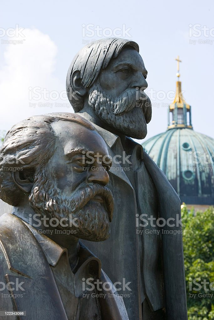 Statue of Karl Marx and Friedrich Engels, Berlin, Germany stock photo