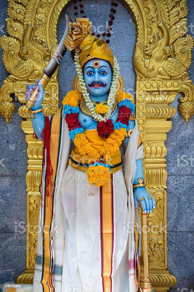 Statue of Karuppu Swamy in Sri Veeramakaliamman Temple stock photo