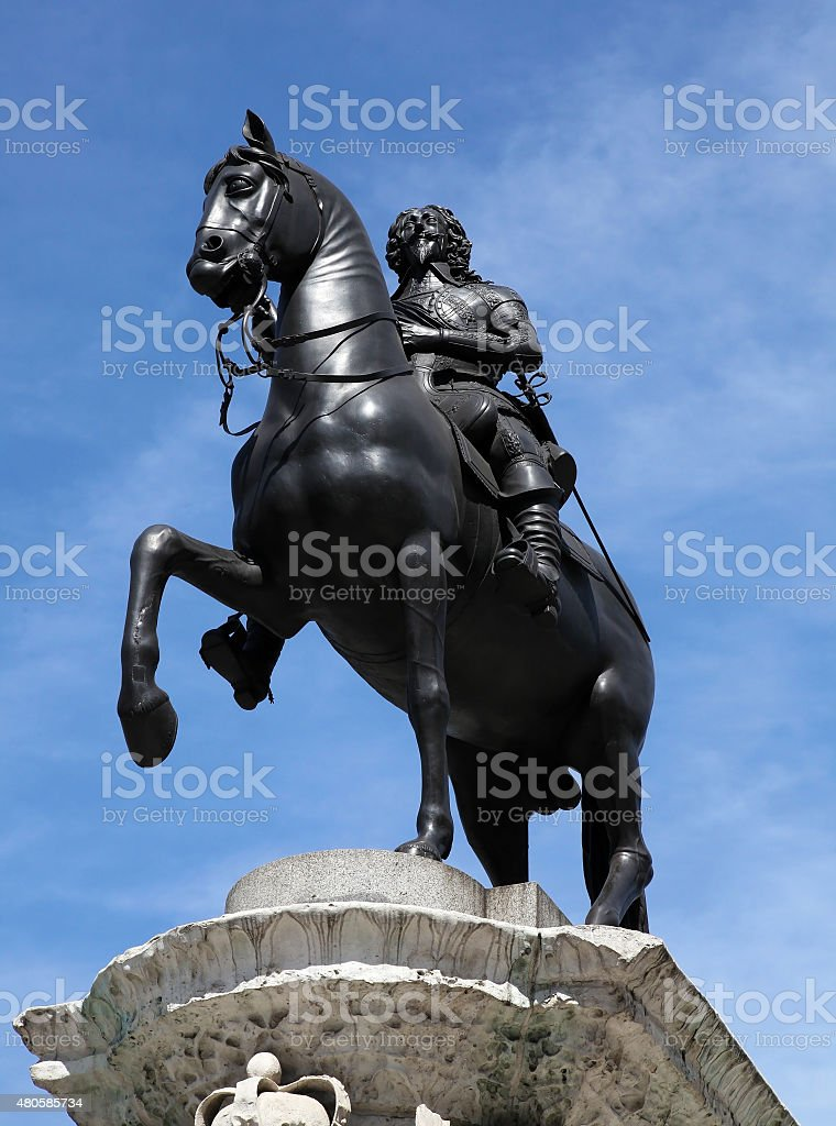 Statue of King Charles I. in London in UK stock photo