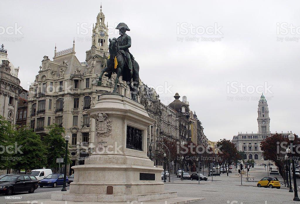 Statue of King Dom Pedro VI , Porto, Portugal. royalty-free stock photo