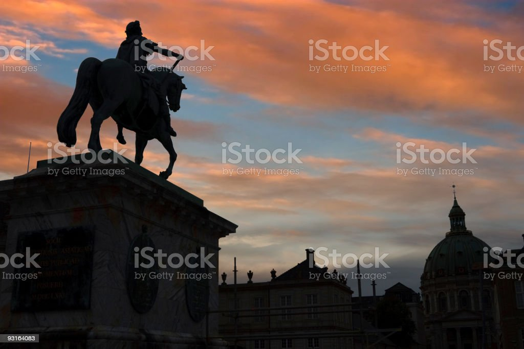 Statue of King Fradarik in sunset stock photo