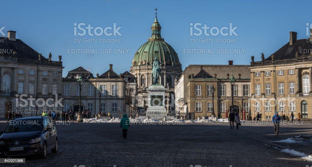Statue of king Frederik V, Copenhagen, Denmark stock photo
