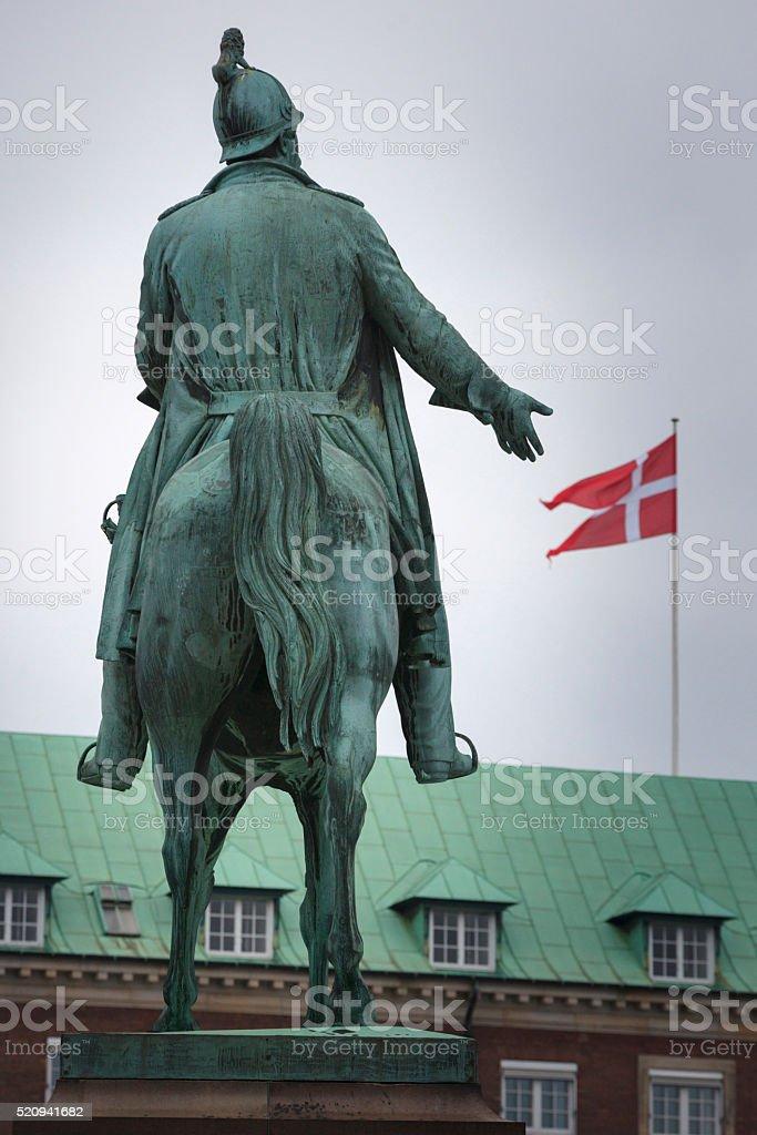 statue of King Frederik VII at Christiansborgs Slotsplads in Copenhagen stock photo