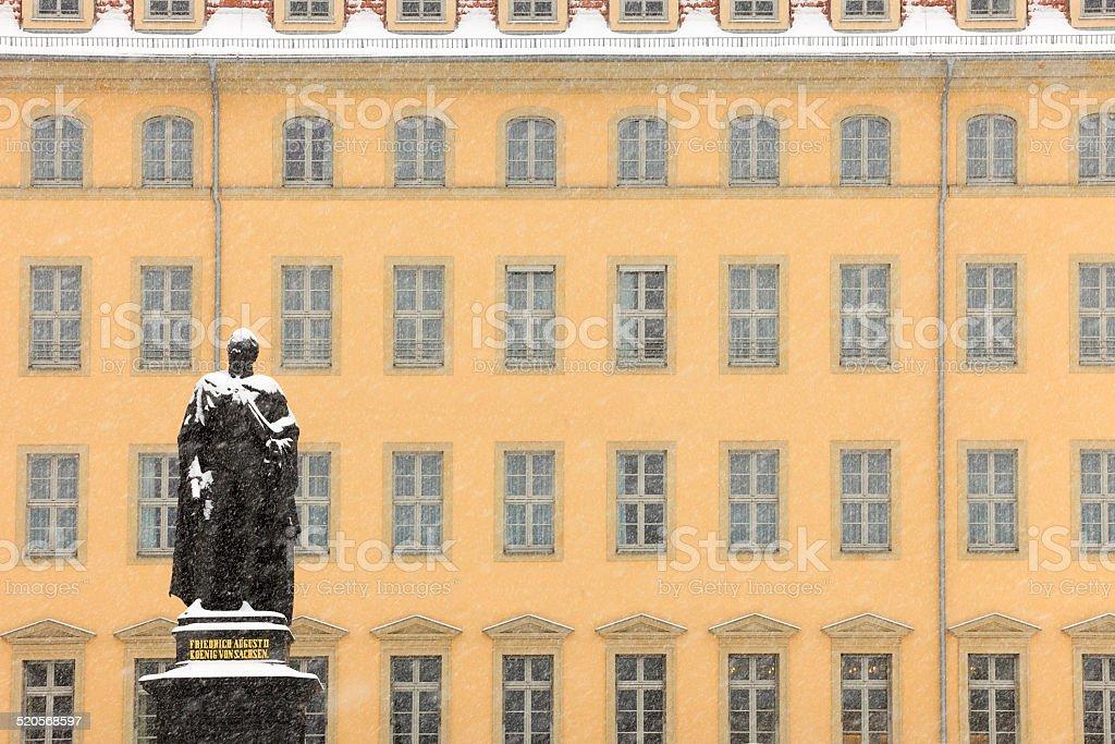 statue of king Friedrich August II in Dresden stock photo