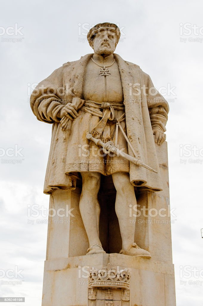 A statue of King Joao III, University of Coimbra,  one of the oldest universities in the world. UNESCO World Heritage site. stock photo