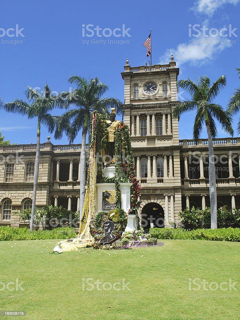 Statue of King Kamehameha in Honolulu royalty-free stock photo