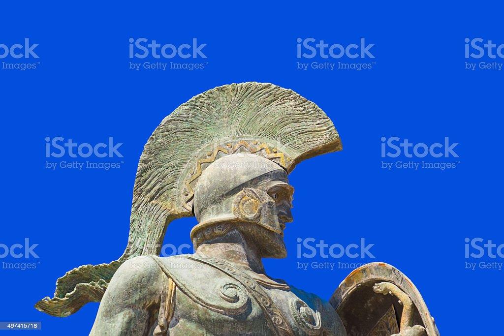Statue of king Leonidas in Sparta, Greece stock photo