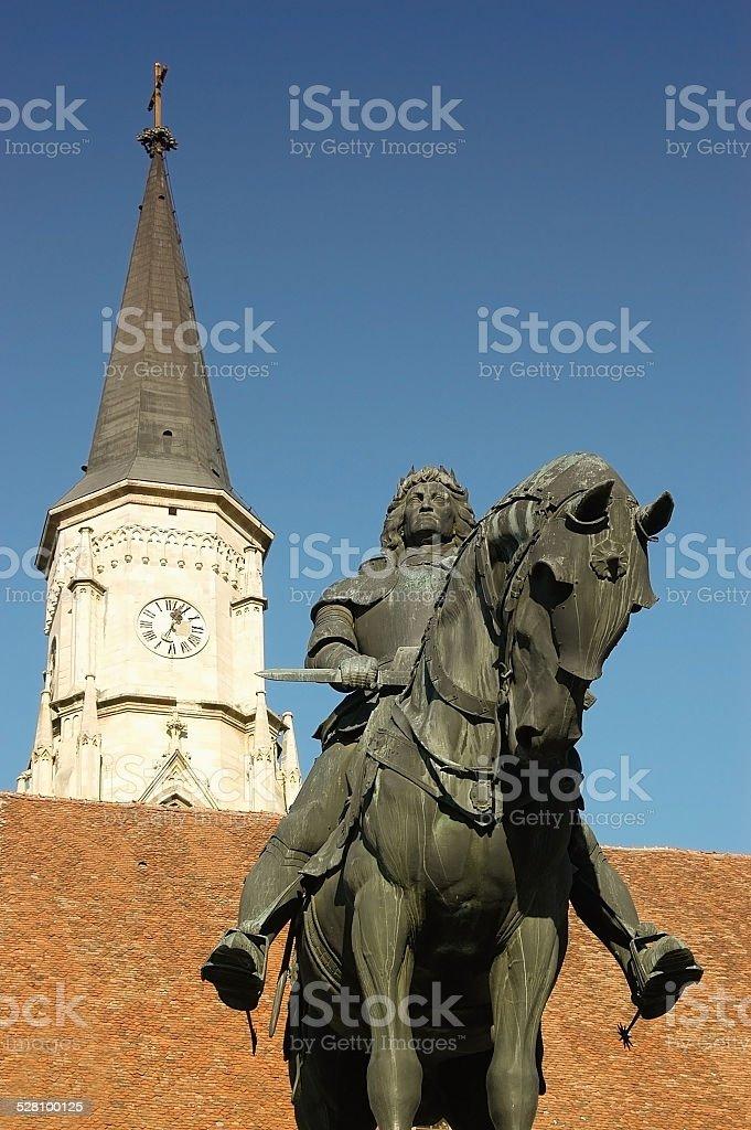 Statue of King Mathias in Cluj Napoca, Romania stock photo